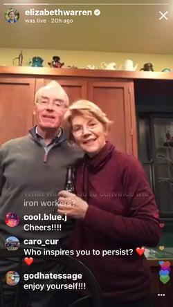 Elizabeth warren instagram live