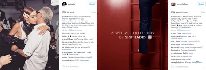 campaña tommy hilfiger y gigi hadid instagram