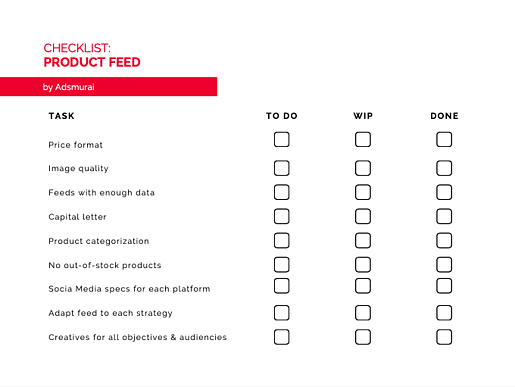 product feed checklist